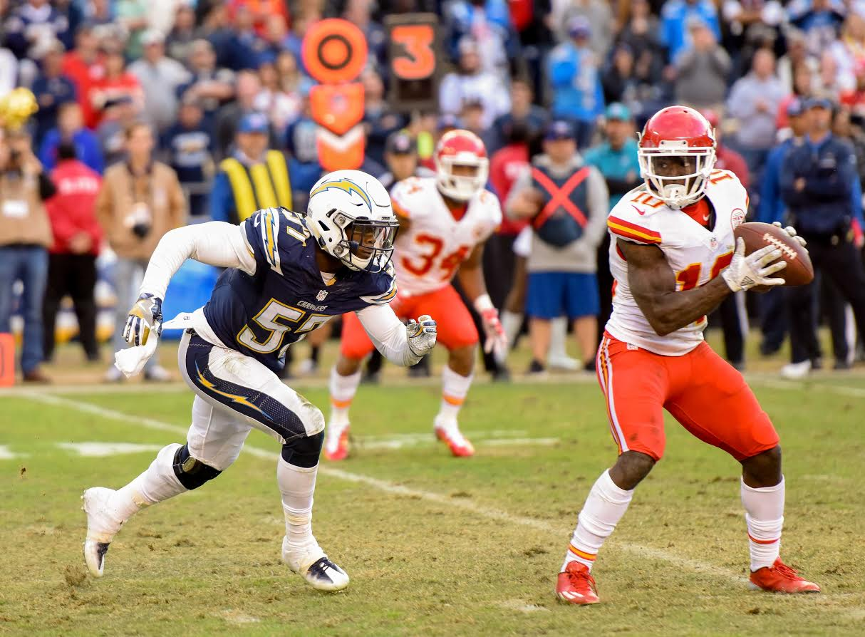 Jan. 1, 2017 - San Diego Chargers rookie linebacker Jatavis Brown running full speed to pounce on Kansas City Chiefs wide receiver Tyreek Hill in the open field late in the fourth quarter in San Diego, CA. By; John Moore/Locker-Report.com