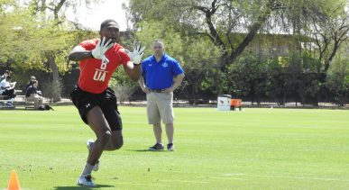 Mar. 25, 2017 - TEMPE, Ari. - Defensive back Terrell Sinkfield executing passing drill at the 2017 NFL Pro Player Combine. (Photo by: John Moore/Locker-Report.com