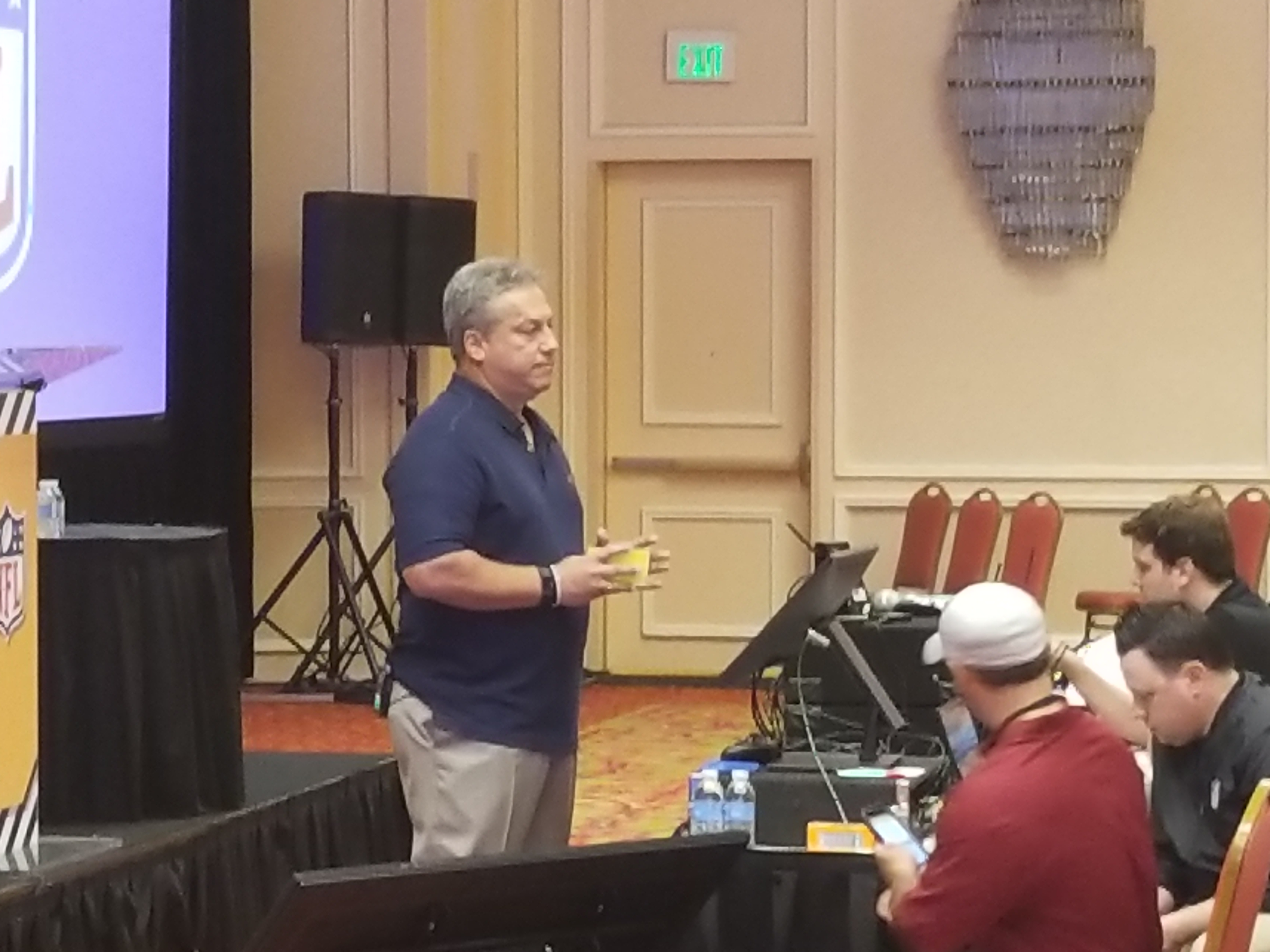 July 14, 2017 - DALLAS, TX - NFL Senior Vice President of Officiating Al Riveron addressing the NFL officials at the 2017 NFL Officiating Clinic. (Photo by: Locker-Report.com)
