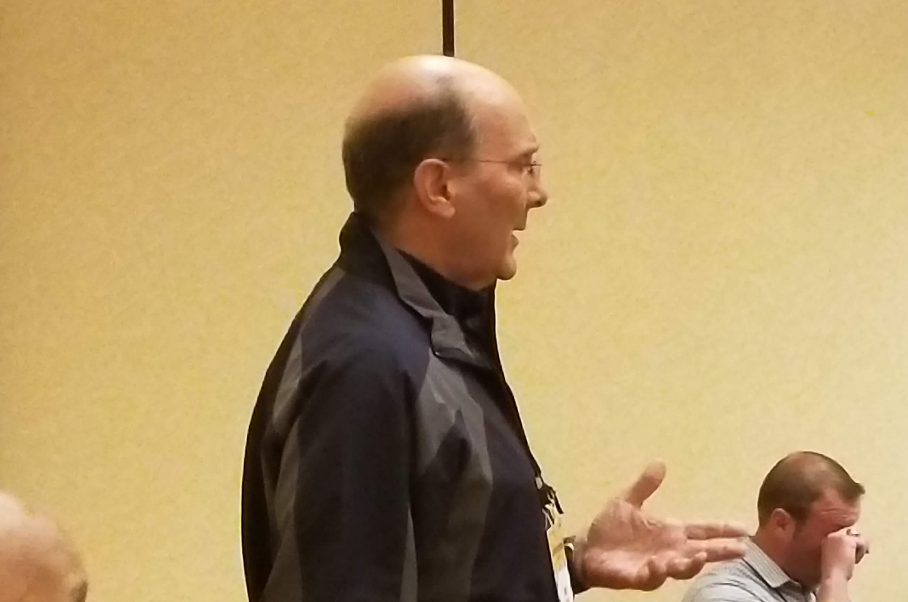 July 14, 2017 (DALLAS,TX) - Former NFL official Tony Veteri speaking with NFL officiating candidates at the 2017 NFL Officiating Clinic. (Photo by: Locker-Report.com)
